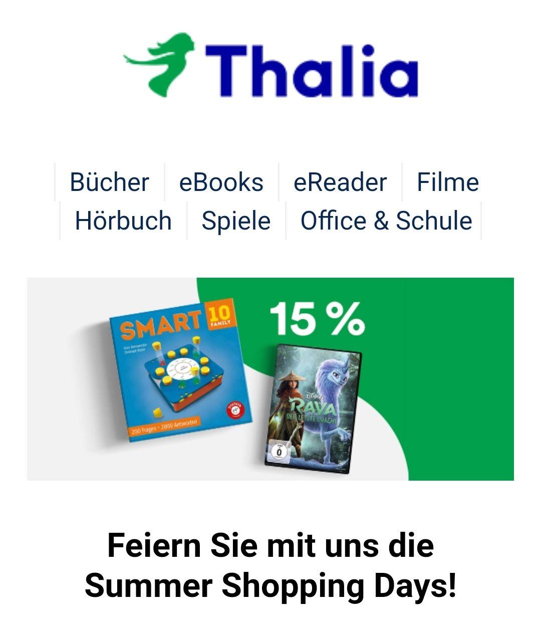Thalia: 15% Rabatt auf Filme, Spielwaren, Hörbücher & mehr