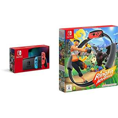 Nintendo Switch (rot/blau) + Ring Fit Adventure