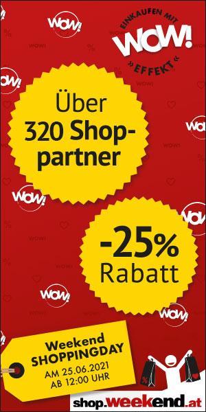 25% auf alles mit vielen neuen Shops bei Shop.weekend