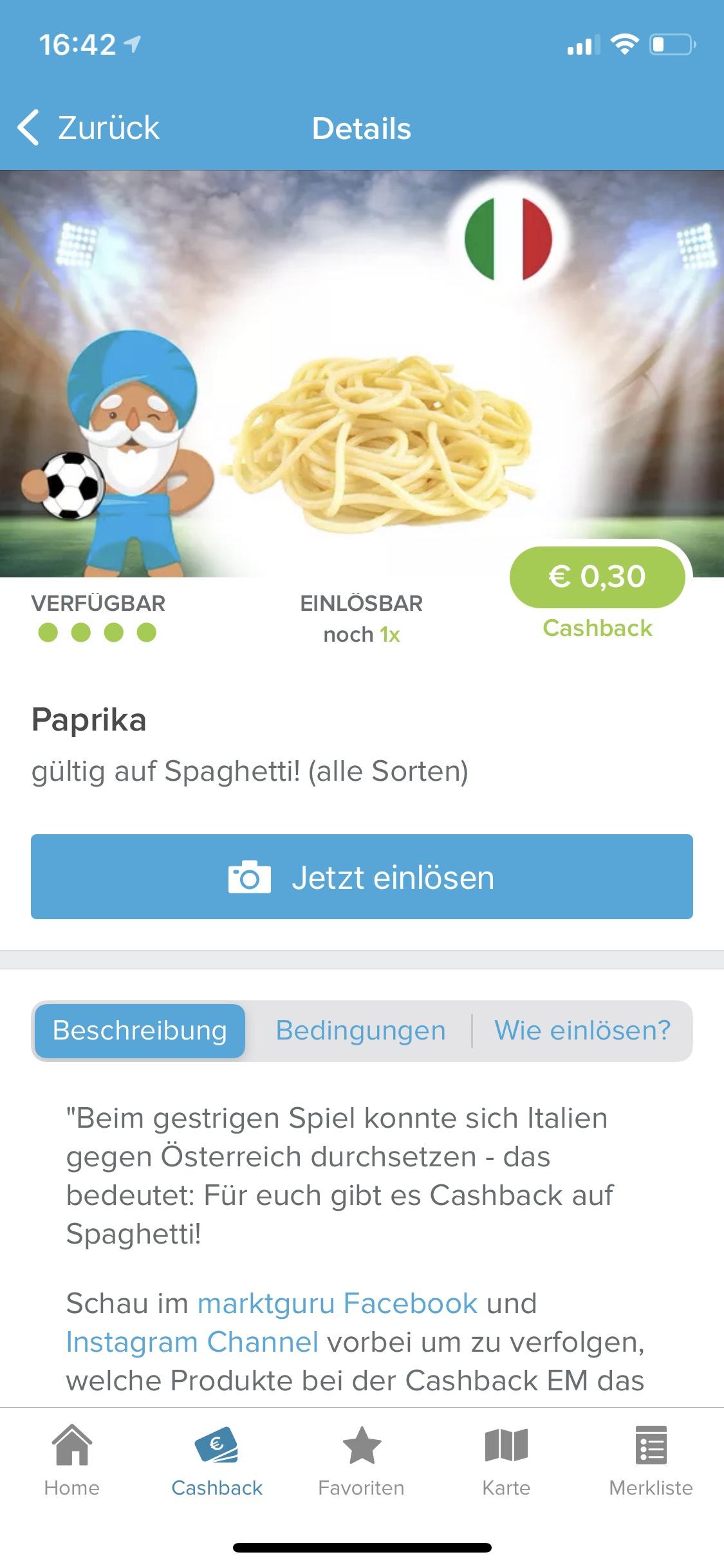 Marktguru Cashback Spagetti -0,3€