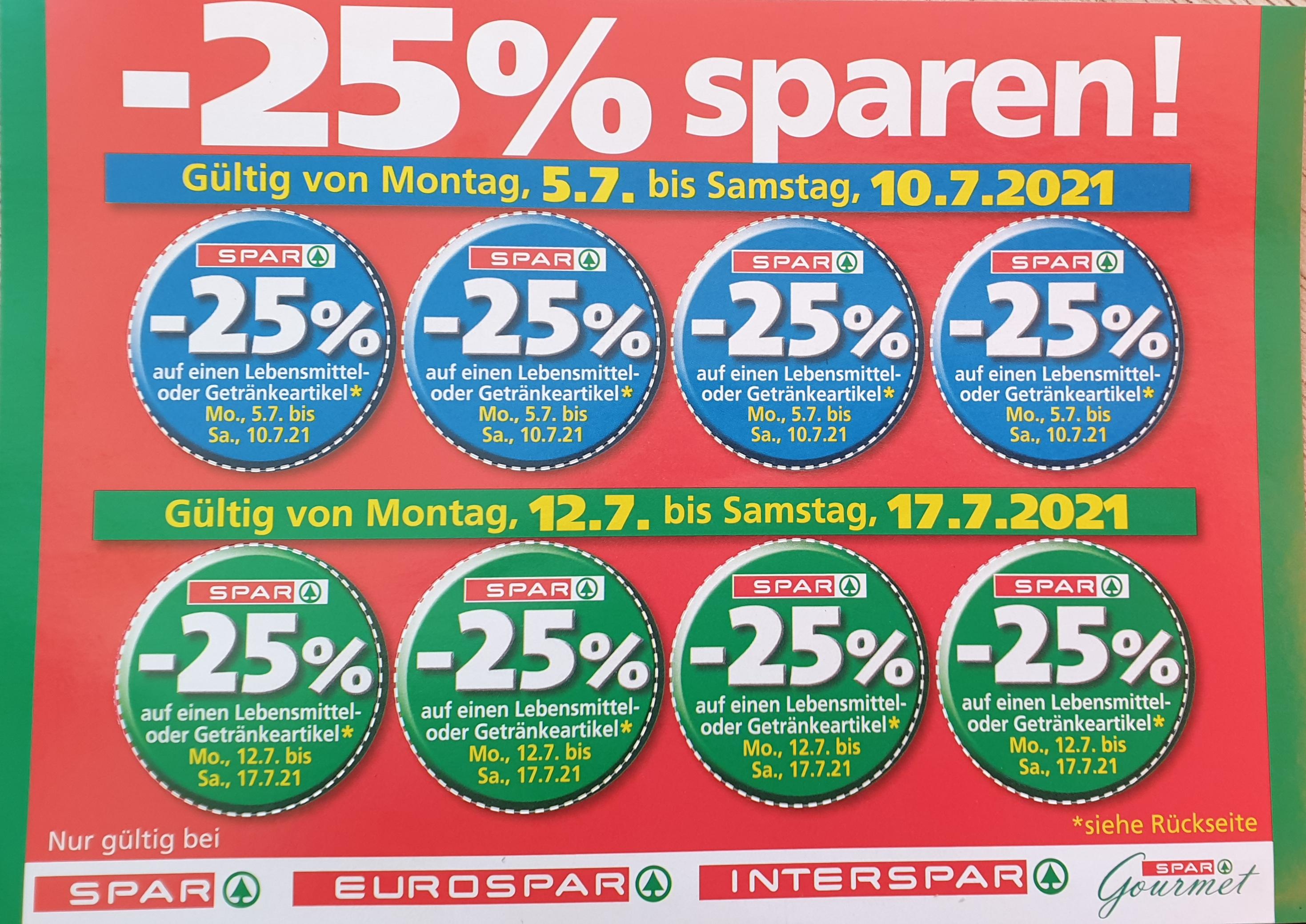 - 25% Rabatt-Sticker für Spar, Eurospar, Spar-Gourmet und Interspar