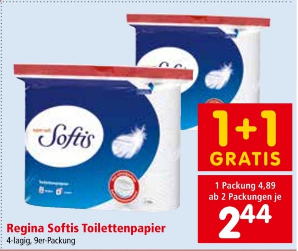 Regina Softis Toilettenpapier 9 Rollen in Aktion bei Interspar