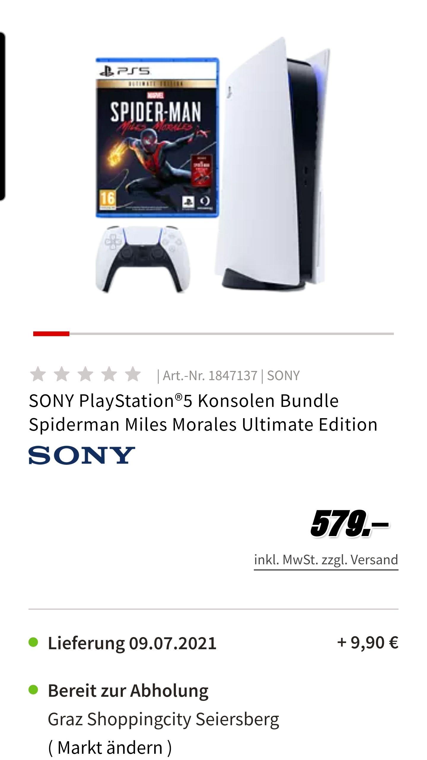 Playstation 5 mit Spiderman Miles Morales