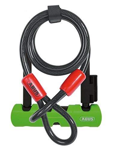 ABUS Bügelschloss Ultra Mini 410 + SH34-Halterung + Sicherungskabel Cobra 10/120 - Fahrradschloss mit Rundbügel - ABUS-Sicherheitslevel 8