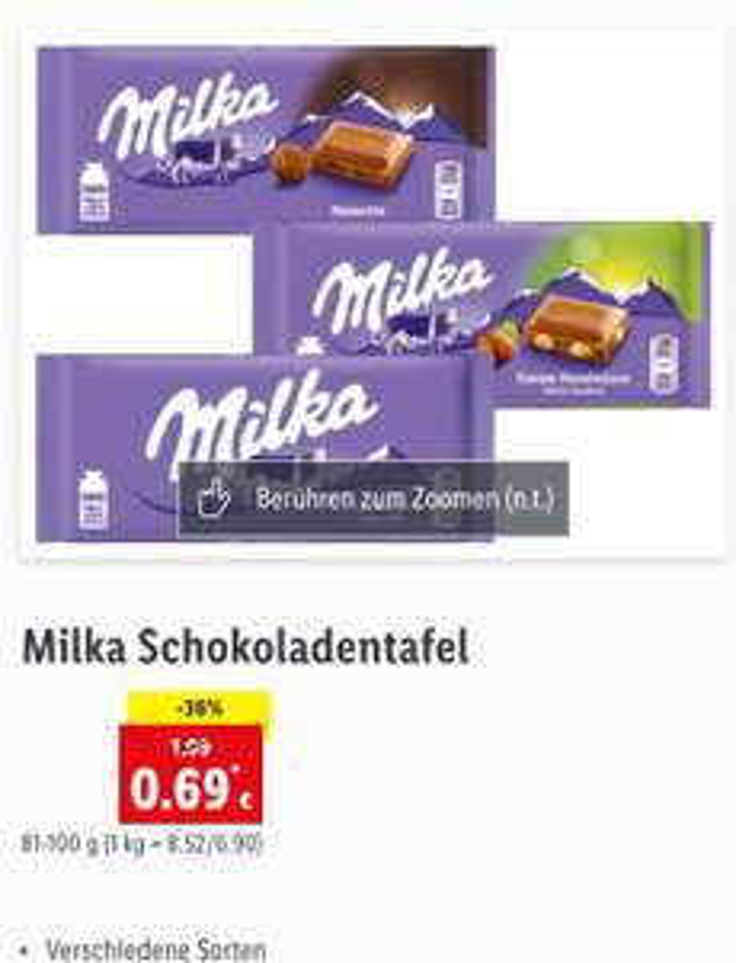 Milka Tafelschokolade (81-100g) in Aktion bei Lidl