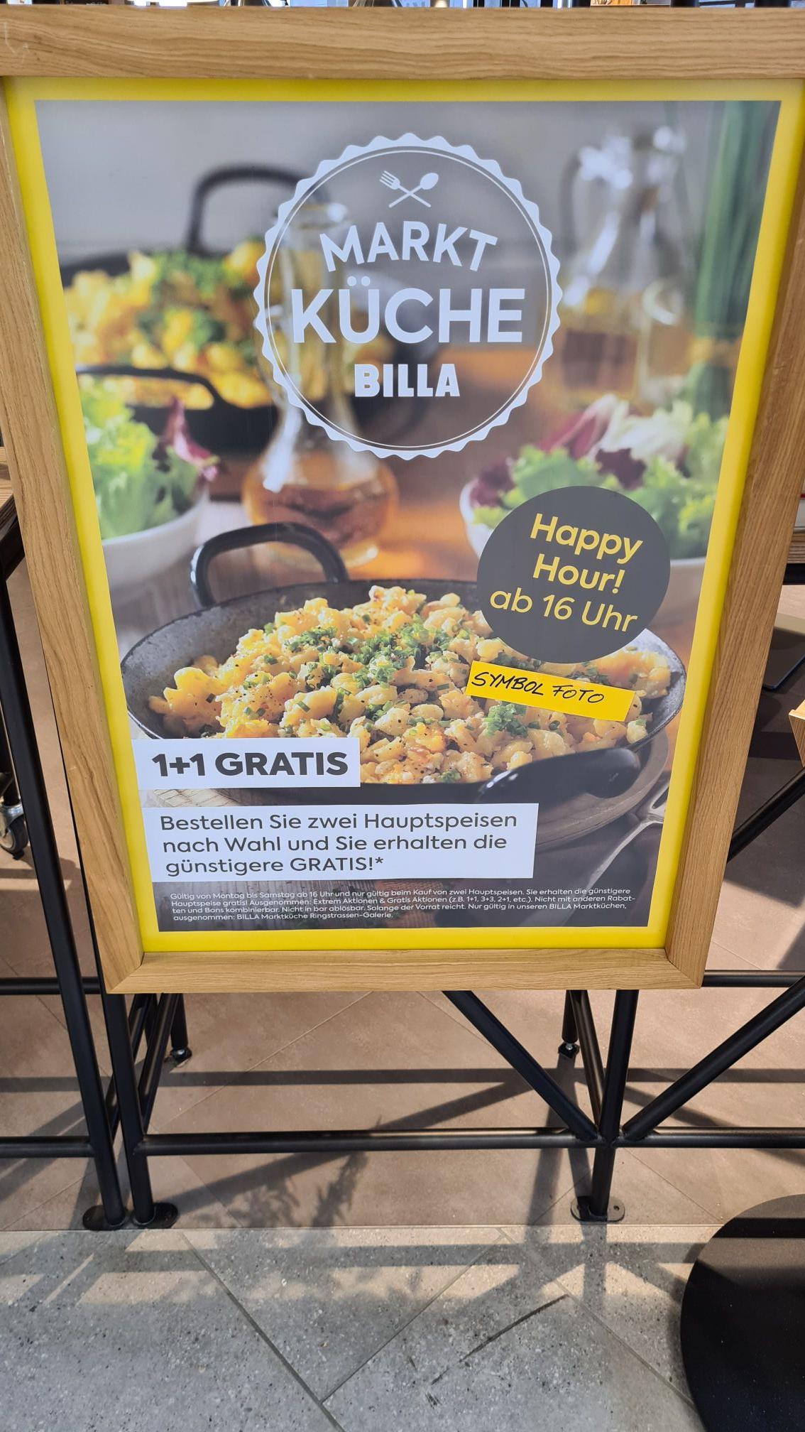 Billa Plus Marktküche 1+1 Happy Hour Aktion