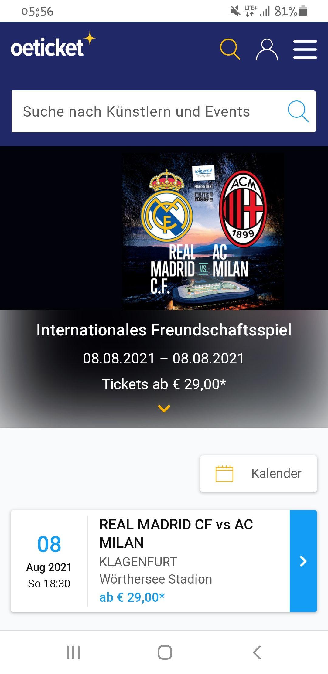Internationales Freundschaftsspiel: REAL MADRID VS. AC MILAN - Klagenfurt 08.08.2021 – 08.08.2021