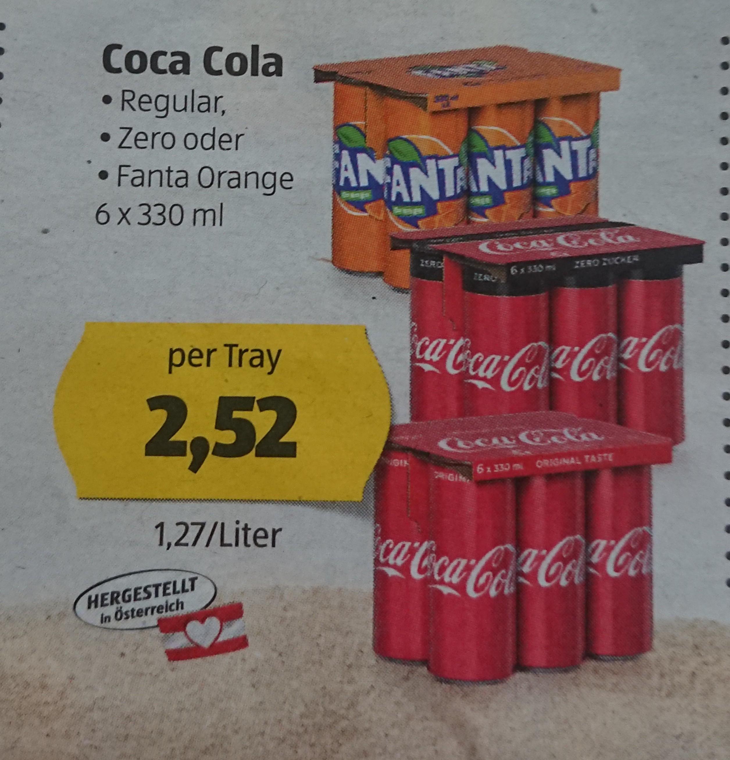 Coca Cola (Regular, Zero, Fanta) per 6*0,33l Tray 2,52€ (=0,42€ pro Dose)