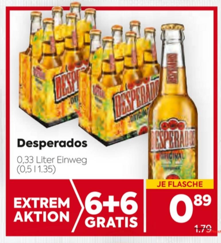 Desperados Bier im Angebot (6+6 gratis) bei Billa und Billa-Plus ab 22.Juli!