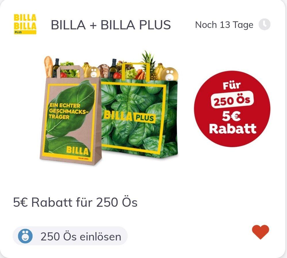 Billa: 5€ Rabatt für 250 Ös