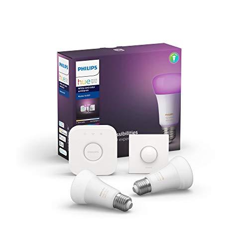 Philips Hue E27 Starter-Kit, 2x LED-Lampe White and Color + Bridge + Smart Button