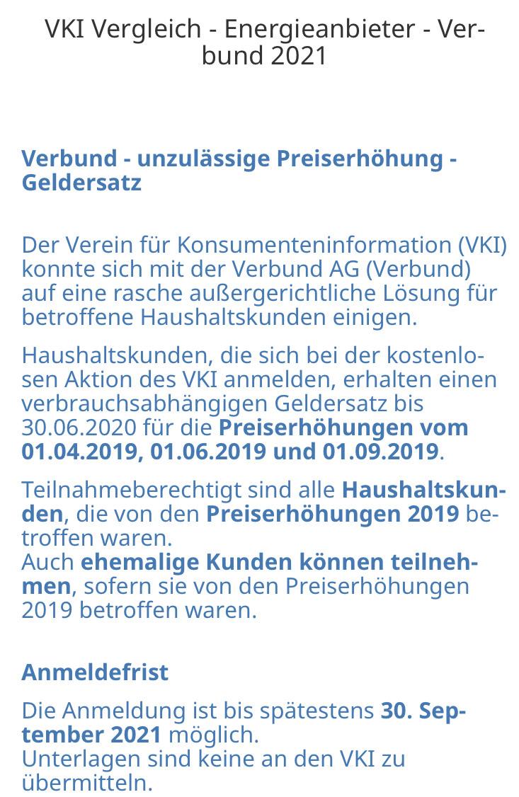VERBUND Kunden - Geld zurück durch OGH Urteil