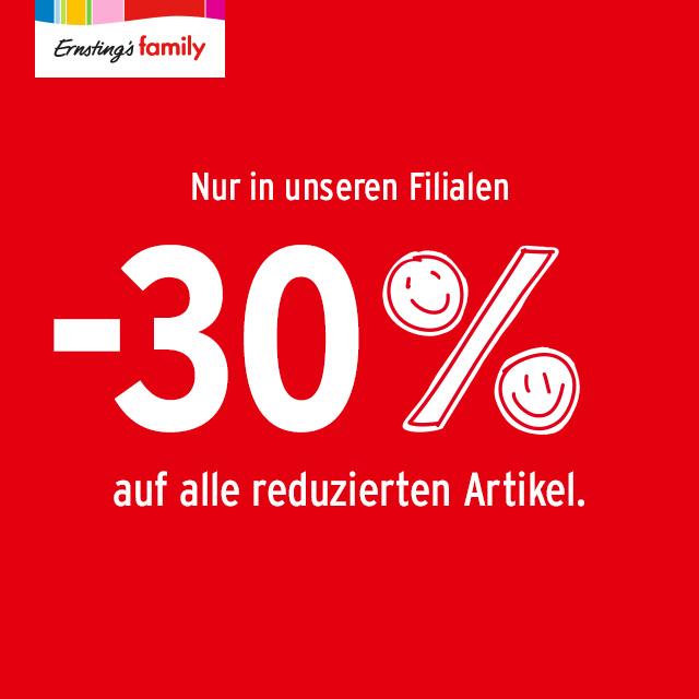 30% Rabatt auf alle reduzierten Artikel bei Ernsting´s Family