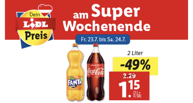 Hammerpreis für 2 Liter Coca Cola, Fanta oder Sprite