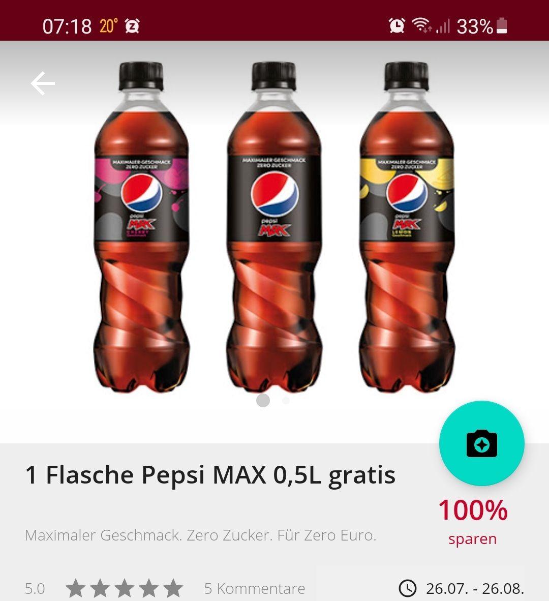 Scondoo: 100 % Cashback auf Pepsi Max 0.5l