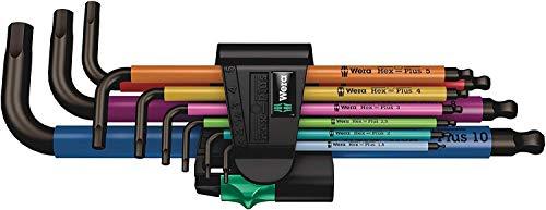 [Amazon prime] Wera 05073593001 950/9 Hex-Plus Multicolour 1 SB Multicolour Winkelschlüsselsatz, metrisch, BlackLaser, 9-teilig