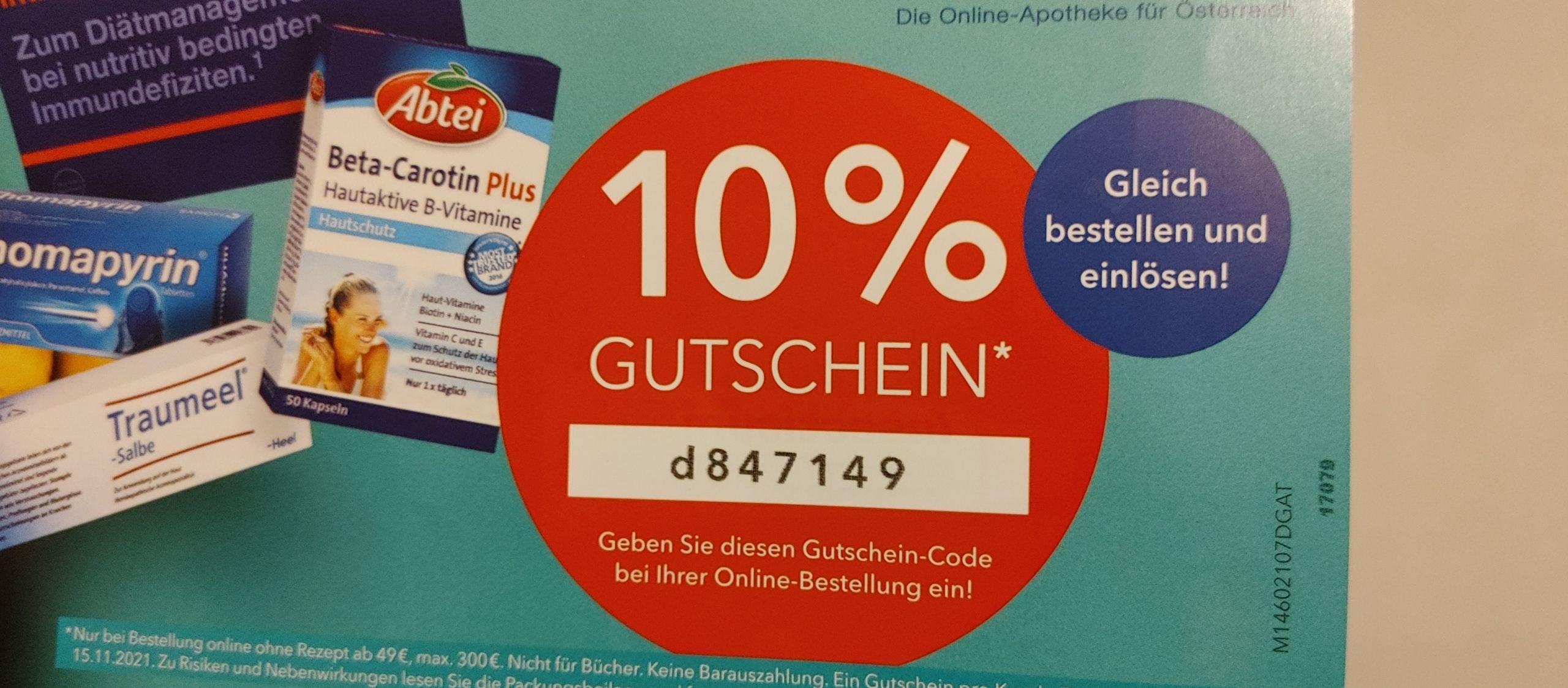10% Gutschein bei Shop Apotheke ab 49€ Bestellwert