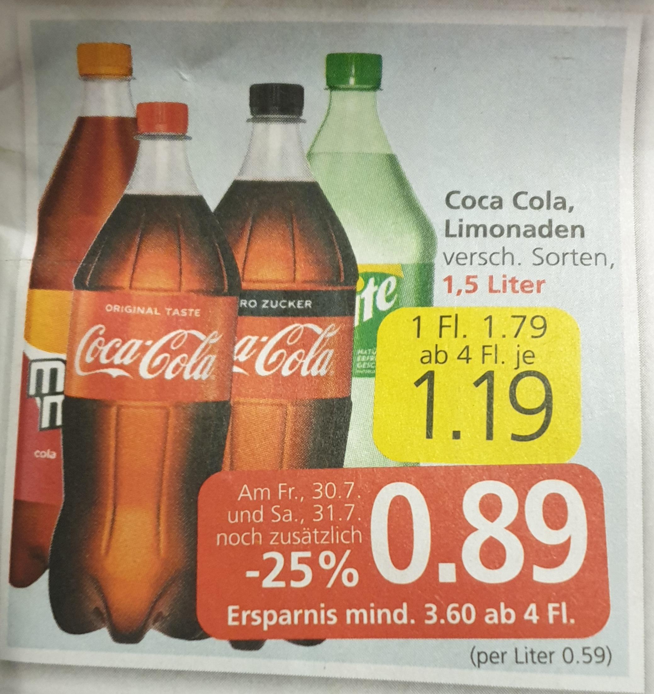 Coca Cola Limonaden (div. Sorten) 1,5 l und andere alkoholfreie Getränke in Aktion bei Spar, Eurospar und Interspar