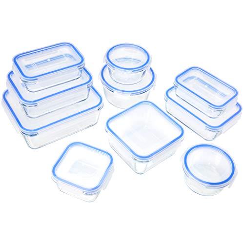 Amazon Basics - Glasbehälter für Lebensmittel, mit Deckel, 20 -teiliges Set (10 Behälter + 10 Deckel)