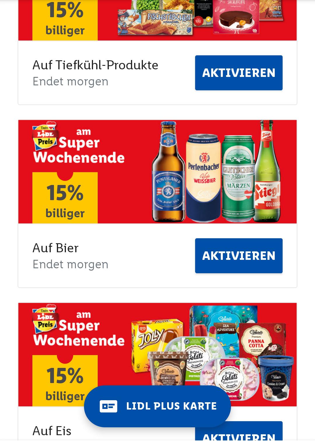 Lidl Plus App: Dieses Wochenende -15% auf alle Tiefkühlprodukte, Eis und Bier