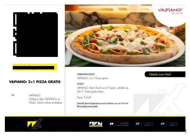 Vapiano: 2 + 1 Pizzen gratis (nur vor Ort)