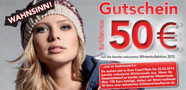 Top! 50 € Rabatt auf die bereits reduzierte Winterkollektion ab 100 € Einkauf bei Fussl